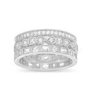 Round Bead Set Cubic Zirconia Antique Style Eternity Band 3pc Bridal Ring Set for Women in Rhodium Plated 925 Sterling Silver