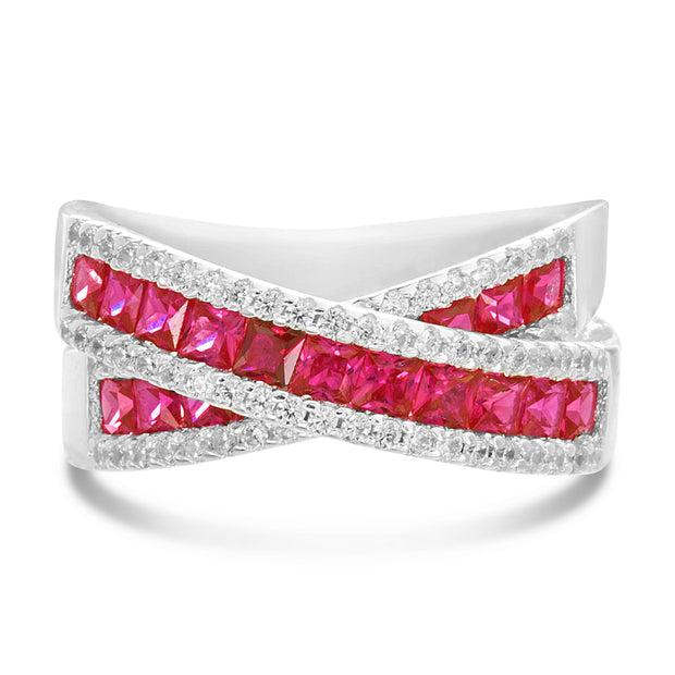 Simulated Ruby and Cubic Zirconia X Bypass Ring in Rose Gold or Rhodium Plated Sterling Silver