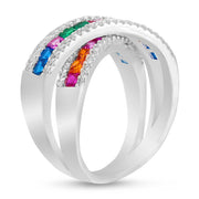 Square Shaped Rainbow Color Cubic Zirconia X Bypass Ring in Rhodium Plated Sterling Silver