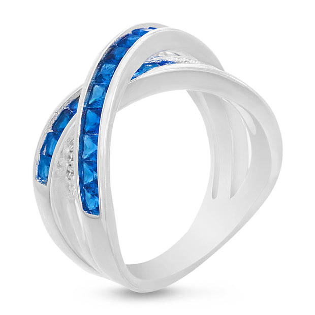 Square Shaped Simulated Blue Sapphire and Cubic Zirconia X Bypass Ring in Rhodium Plated Silver