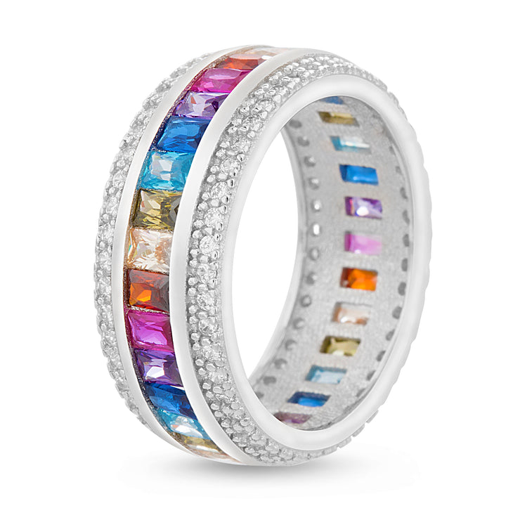 Rainbow Cubic Zirconia Eternity Band Ring in Rhodium Plated Sterling Silver