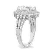 Emerald Cut Cubic Zirconia  Engagement Halo Ring in Rhodium Plated Silver