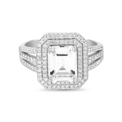 Emerald Cut Prong Set Cubic Zirconia Bridal Engagement Halo Ring for Women in Rhodium Plated 925 Sterling Silver