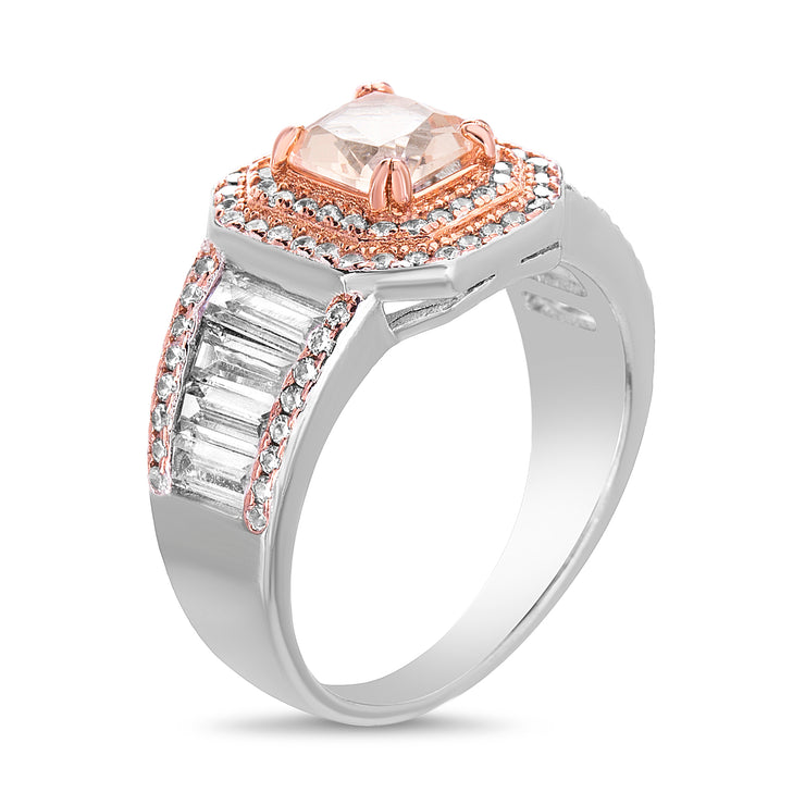 Simulated Pink Diamond Engagement Ring in Rhodium Plated Sterling Silver