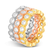 Round Cubic Zirconia Antique Style Ring Eternity Band in Tri Color Plated Silver