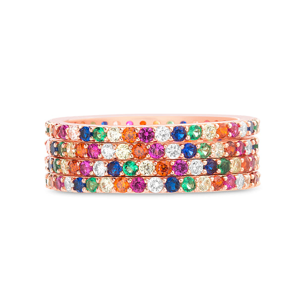 Rainbow Cubic Zirconia Eternity Band in Rose Gold Plated Sterling Silver
