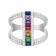 Rainbow Cubic Zirconia Open Ring in Rhodium Plated Sterling Silver