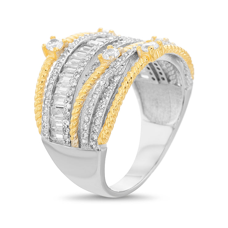 Baguette and Round Cubic Zirconia Ring in Rhodium and Yellow Gold Plated Sterling Silver