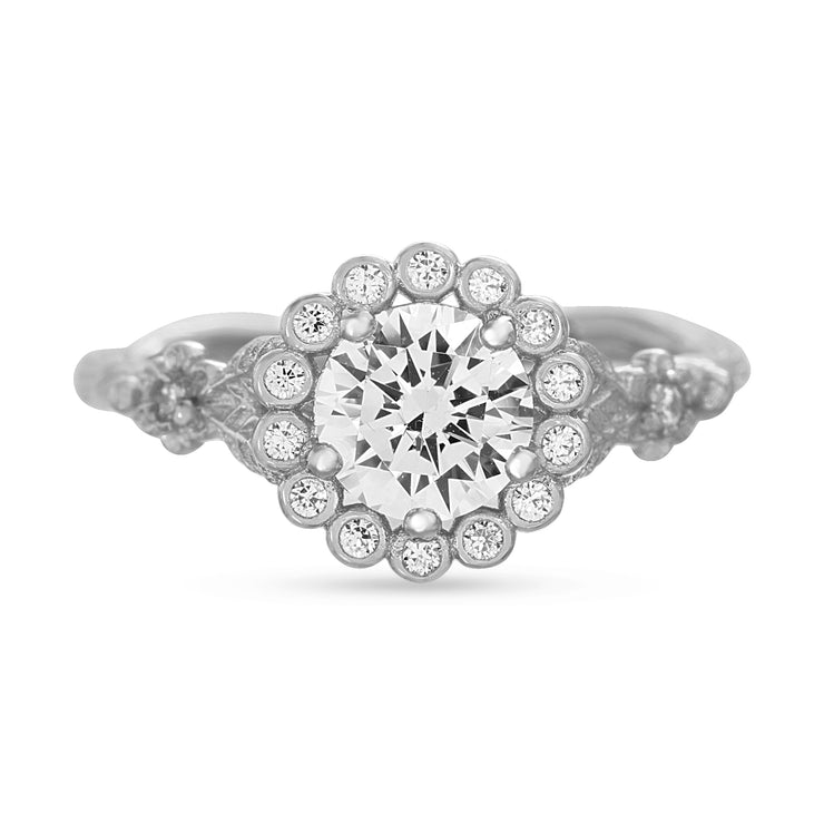 Cubic Zirconia Antique Style Sterling Silver Ring