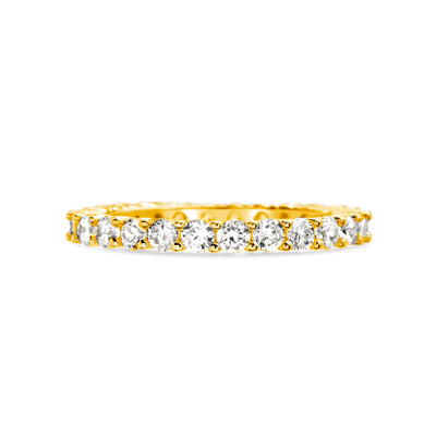 Cubic Zirconia Thin Eternity Band in Yellow Gold Plated Sterling Silver