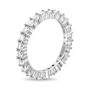 Cubic Zirconia Thin Eternity Band in Rhodium Plated Sterling Silver