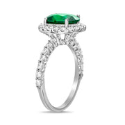 Simulated Gemstone and Cubic Zirconia Halo Ring in Rhodium Plated Sterling Silver