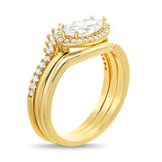 Cubic Zirconia Marquise Stacking Ring Set in Yellow Gold Plated Sterling Silver