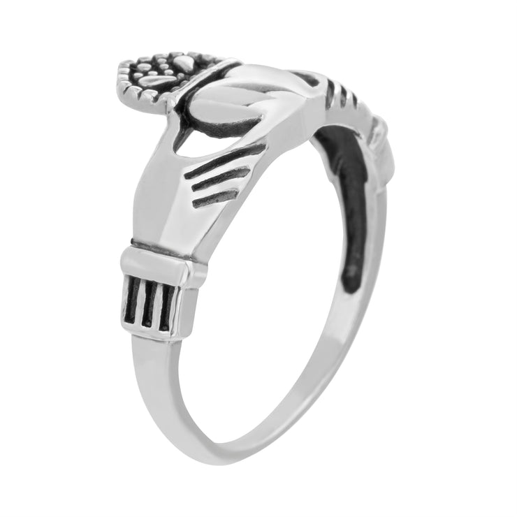 Sterling Silver Claddagh Ring with Oxidized Details
