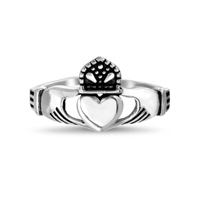 Inspired by You Sterling Silver Claddagh Ring with Oxidized Details