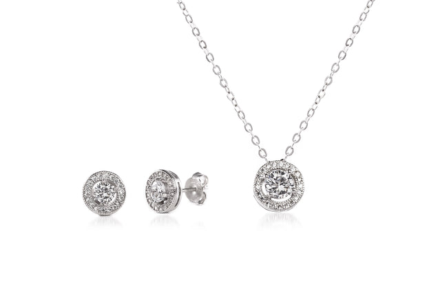 Round Prong Set Cubic Zirconia Stud Earring and Halo Pendant Bridal Necklace Set for Women in Rhodium Plated 925 Sterling Silver