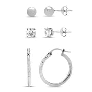Sterling Silver 3 Pair Earring Set Ball Studs / CZ Studs / Diamond Cut Hoop Earrings