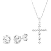 Cubic Zirconia Cross Pendant Necklace and Stud Earrings Set in Rhodium Plated Sterling Silver