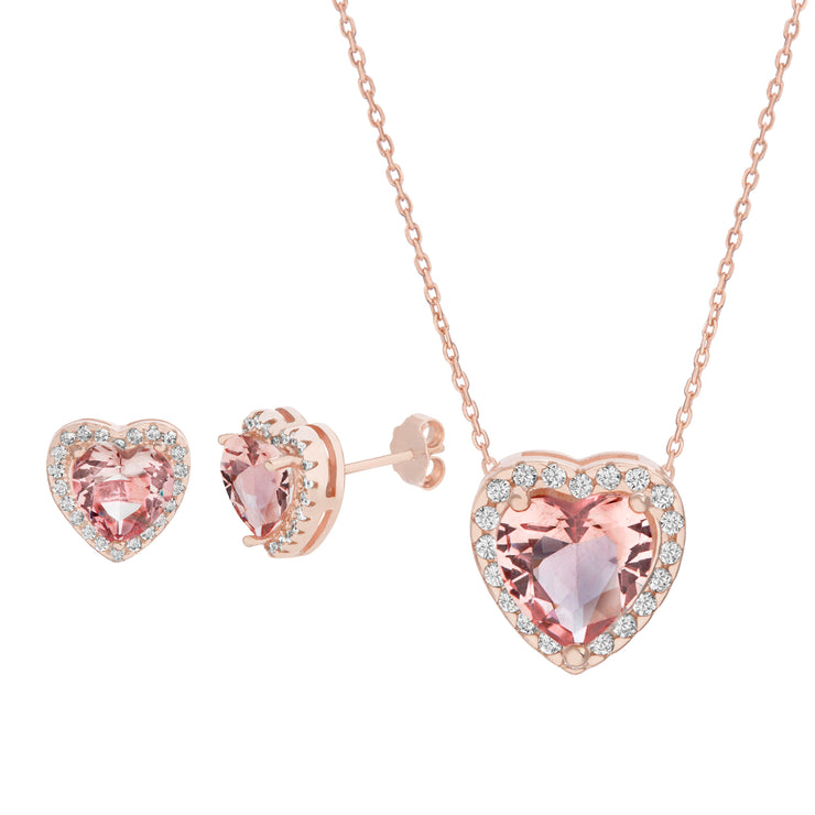 Simulated Morganite Heart Post Earrings and Necklace Set in Rose Gold Plated Sterling Silver