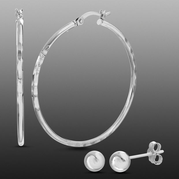 Sterling Silver 40mm Textured Hoop and 6MM Ball Stud Earring Set
