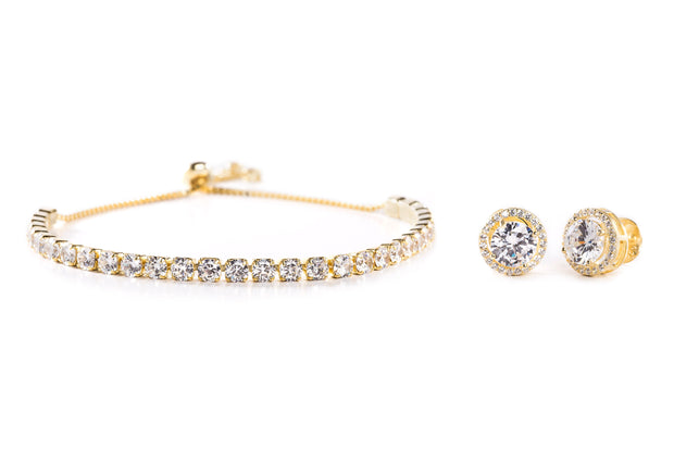 Round Prong Set Cubic Zirconia Adjustable Bridal Tennis Bracelet and Stud Bridal Earring Set for Women in Yellow Gold Plated 925 Sterling Silver