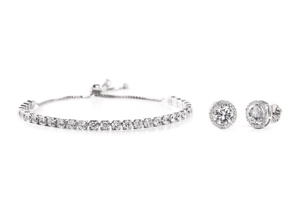 Cubic Zirconia Tennis Bracelet and Stud Earring Set in Yellow Gold, Rose Gold or Rhodium Over Silver