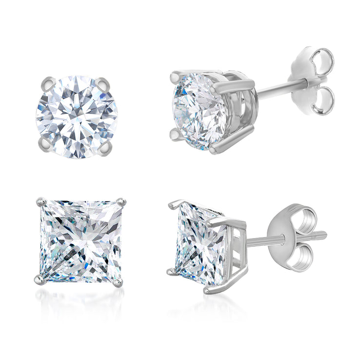 Round & Princess Cut Cubic Zirconia Stud Earrings in Rhodium Plated Sterling Silver
