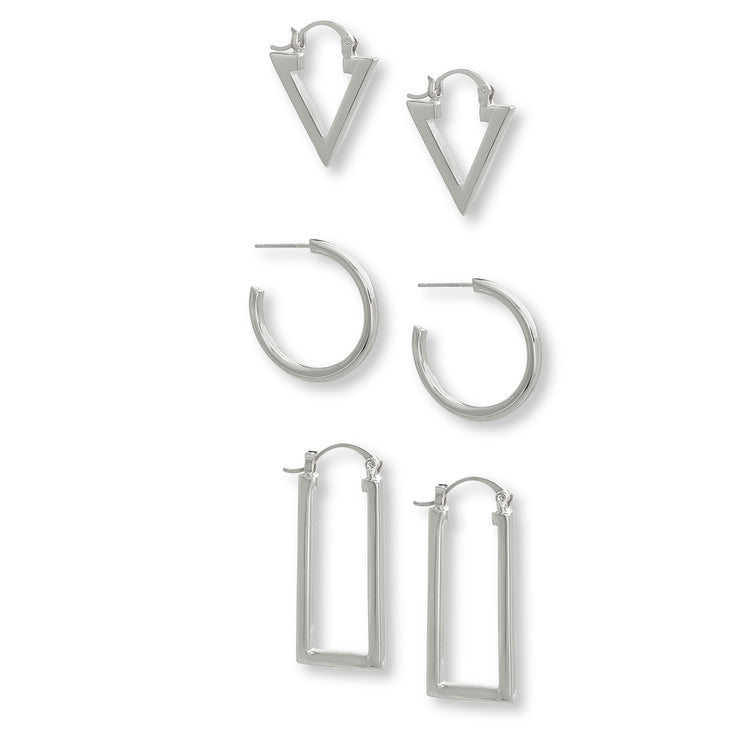 Steve Madden Triangle, Circle, and Rectangle Hoop Earring Set