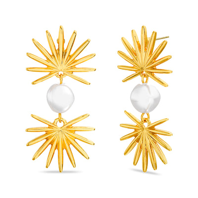 Steve Madden Dangle Stimulated Pearl with Leaf Post Earrings