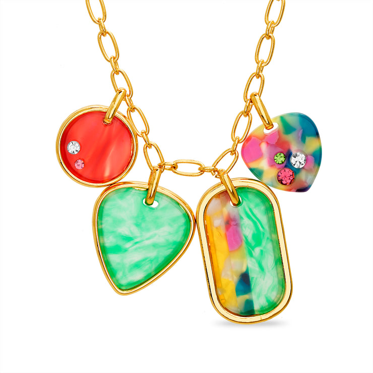Steve Madden Rainbow Heart Pendant Disc Charm Link Necklace