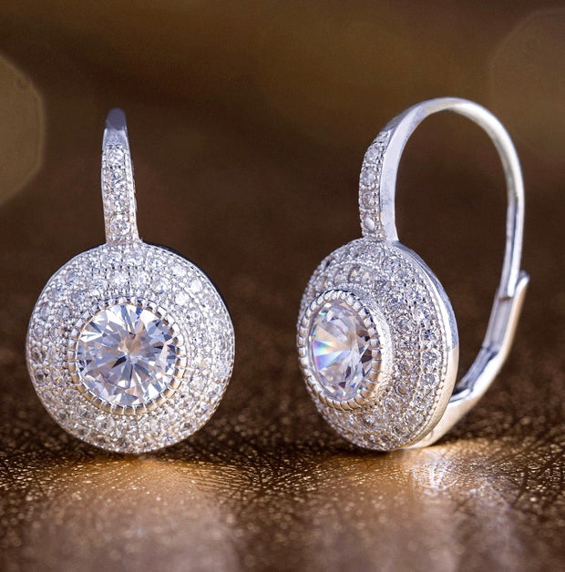 Cubic Zirconia Round Pave Leverback Halo Drop Earrings in Sterling Silver