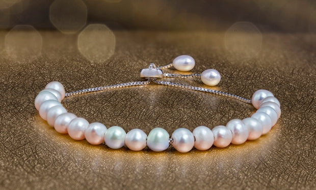 6mm Cultured Freshwater Pearl Adjustable Bolo Bracelet in Sterling Silver