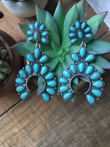 Squash blossom earrings turquoise