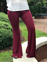 Load image into Gallery viewer, Burgundy flare cotton pants