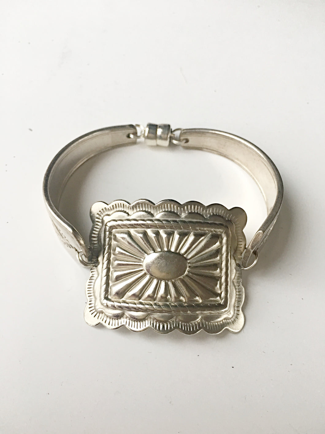 Antique Silverware Bracelet with large square concho