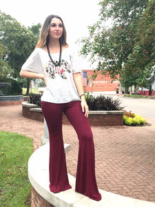 Burgundy flare cotton pants