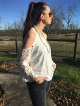 Load image into Gallery viewer, Open shoulder crochet sleeve top
