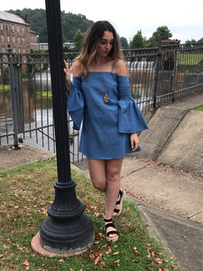 Open shoulder denim dress