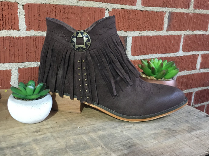 Fringe concho booties