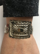 Load image into Gallery viewer, Antique Silverware Bracelet with large square concho
