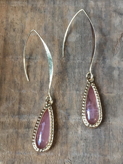 Gold threader earrings with teardrops