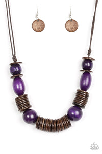 Paparazzi Accessories You Better Belize It - Purple Wood Necklaces - Lady T Accessories