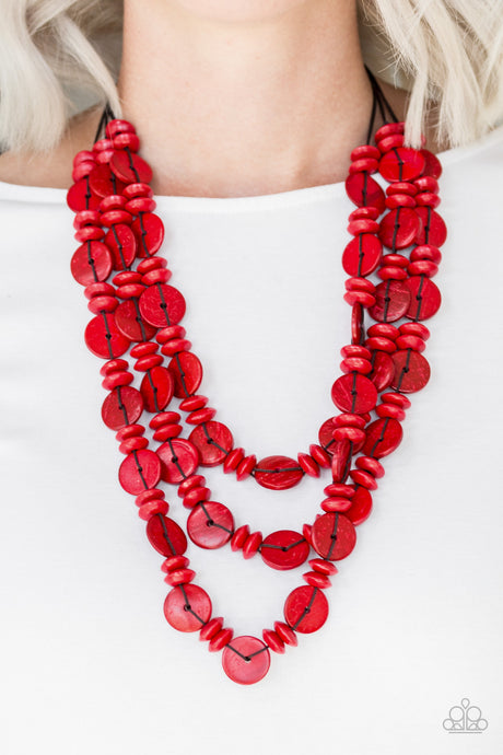 Paparazzi Accessories Barbados Bopper - Red Wood Necklaces - Lady T Accessories