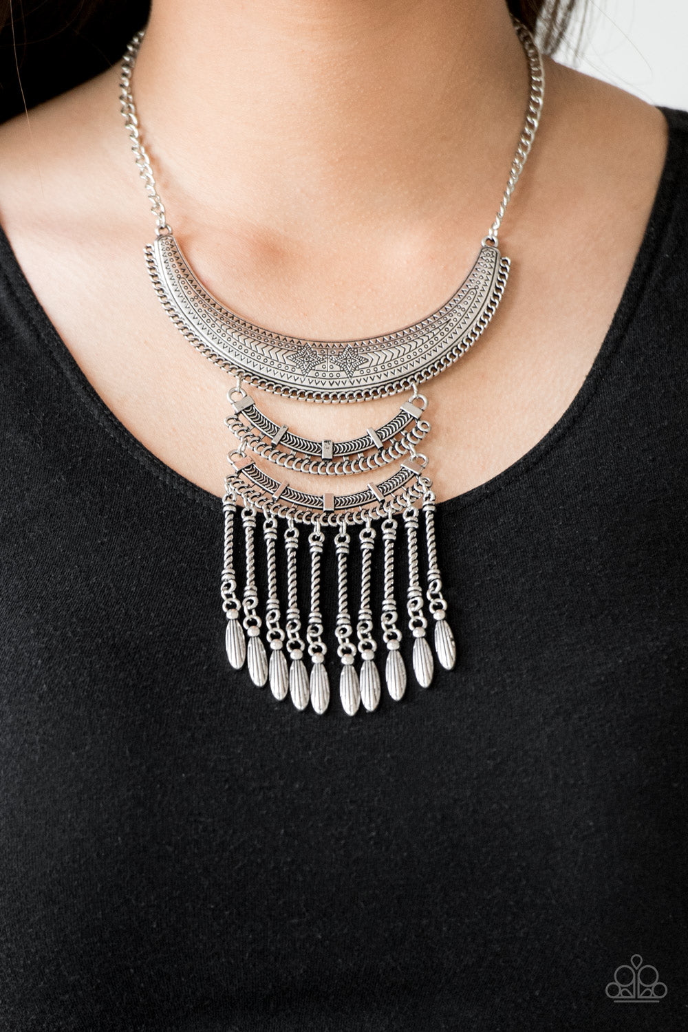 Paparazzi Accessories Eastern Empress - Silver Necklaces - Lady T Accessories