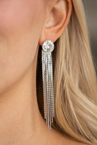 Paparazzi Accessories Level Up - White Earrings - Lady T Accessories