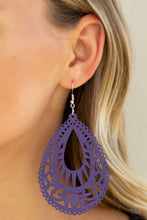 Load image into Gallery viewer, Zesty Zen Purple Wooden Earrings Paparazzi Accessories Lady T Accessories
