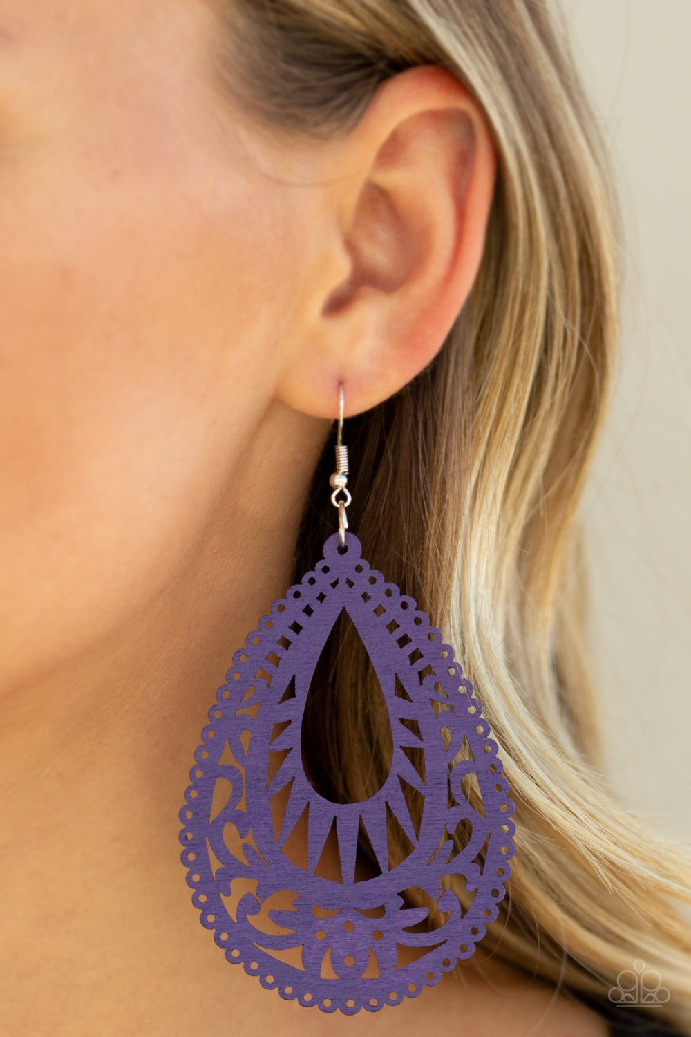 Zesty Zen Purple Wooden Earrings Paparazzi Accessories Lady T Accessories