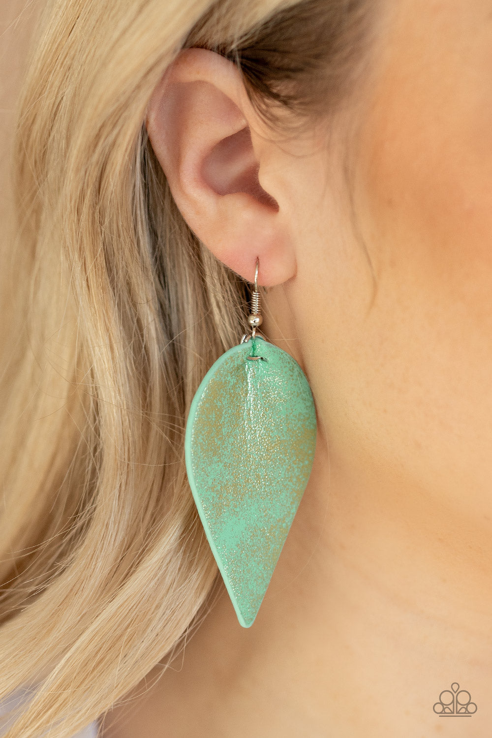 Paparazzi Accessories Enchanted Shimmer Green Earrings - Lady T Accessories