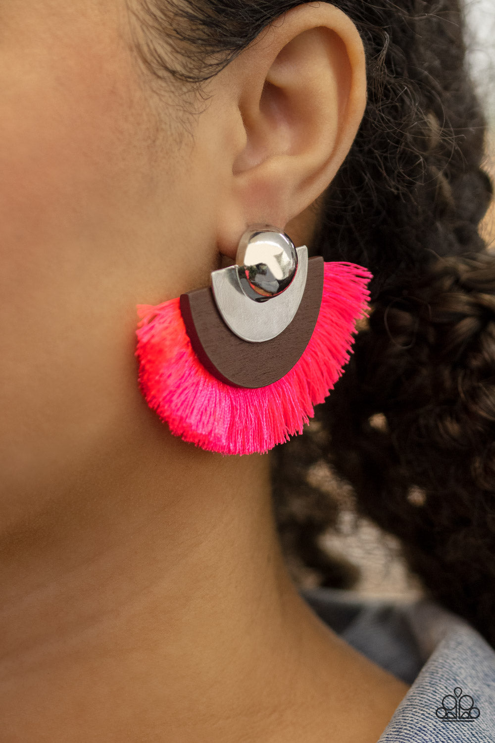 Paparazzi Accessories Fan the FLAMBOYANCE - Pink Earrings - Lady T Accessories