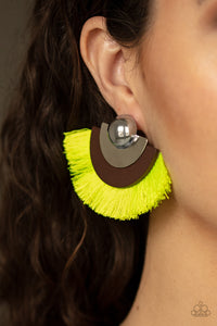 Fan the FLAMBOYANCE Yellow Earrings Paparazzi Accessories Lady T Accessories